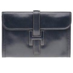 "Beautiful Hermès ""Jige"" Clutch in blue navy box leather"