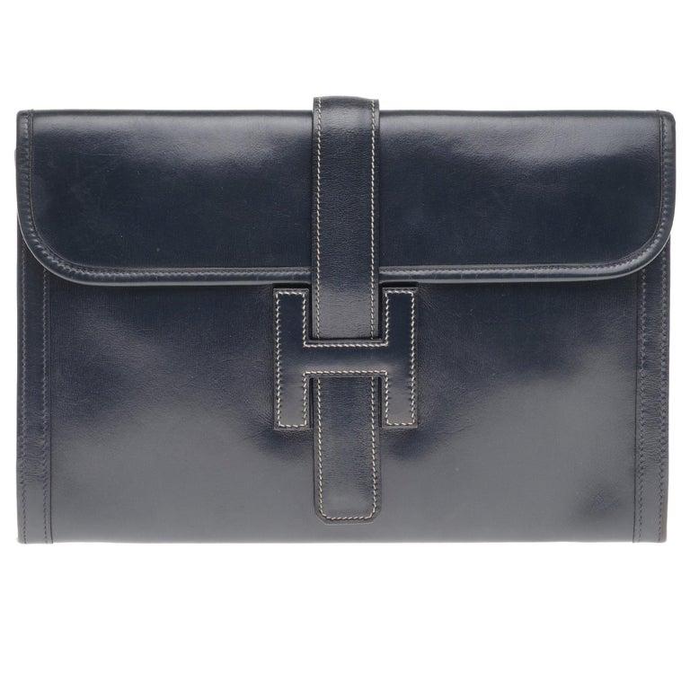 "Beautiful Hermès ""Jige"" Clutch in blue navy box leather For Sale"