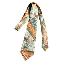 Beautiful Hermes Silk Tie, Colourful Birds Parrots in the Jungle , Hermes Orange