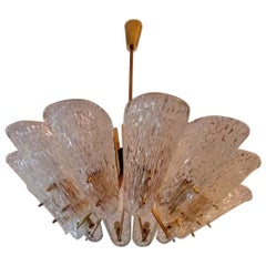 Beautiful Huge Chandelier with Textured Glass by J. T. Kalmar