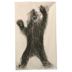Beautiful, Huge, Charcoal Drawing of Bear by Dutch Female Artist