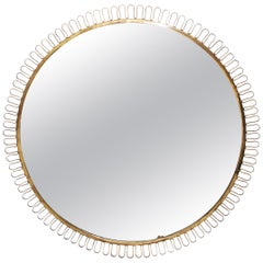 Beautiful Huge Round Wall Mirror Attributed to Josef Frank for Svenkt Tenn