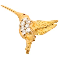 Beautiful Hummingbird Diamond and Ruby Brooch