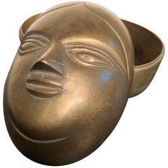 Beautiful Indian Big Antique Bronze Female Beauty Box, Old Collection Mumbai