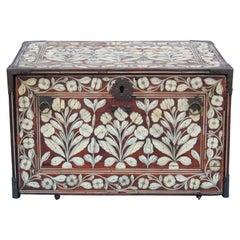 Beautiful Indo-Portuguese Mughal India Bone-Inlaid Fall Front Cabinet Box