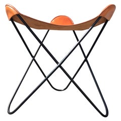 Beautiful Iron and Saddle Leather Stools, Black and Cognac Leather