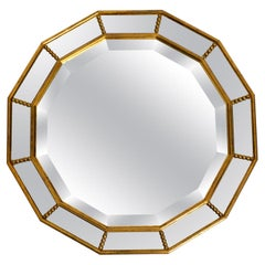 Beautiful Italian 12 Sided Gold-Plated Wall Mirror with Facet Cut from the 1960s