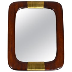 Beautiful Italian 1960s Large Teak Wall Mirror with Brass Elements