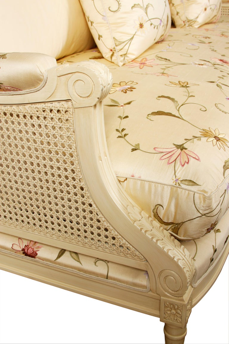 Louis XVI Beautiful Ivory Settee with Silk Floral Fabric