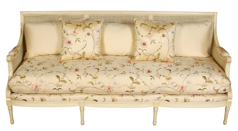 Unknown Beautiful Ivory Settee with Silk Floral Fabric