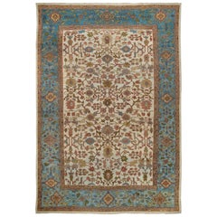Beautiful Ivory Sky Blue Antique Persian Mahal Carpet