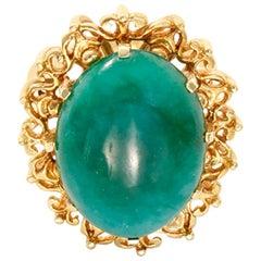 Beautiful Jade Yellow Gold Ring
