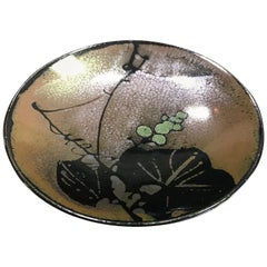 Beautiful Japanese Mashiko Glazed Ceramic Pottery Plate Charger with Lily Pads