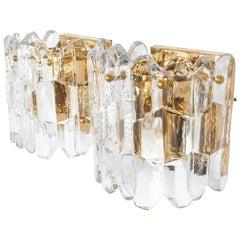Beautiful Pair J.T. Kalmar Palazzo Gilt Brass and Glass Sconces, Austria