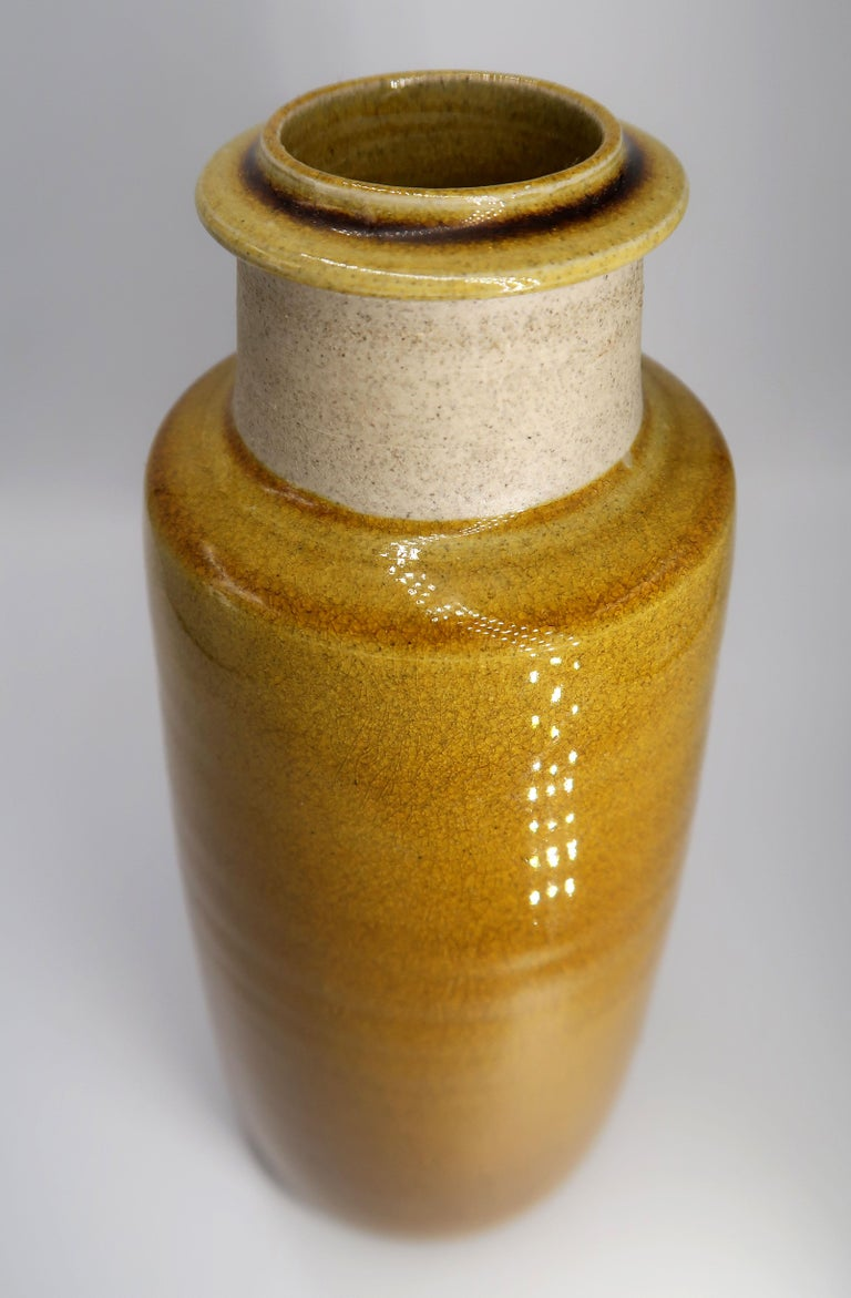 Mid-Century Modern Beautiful Danish Kähler Handmade Ceramic Ochre Glazed Vase, 1950s For Sale