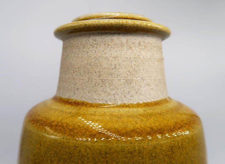 Beautiful Danish Kähler Handmade Ceramic Ochre Glazed Vase, 1950s In Good Condition For Sale In Copenhagen, DK