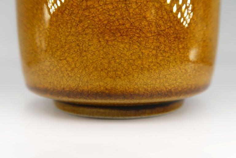 Mid-20th Century Beautiful Danish Kähler Handmade Ceramic Ochre Glazed Vase, 1950s For Sale