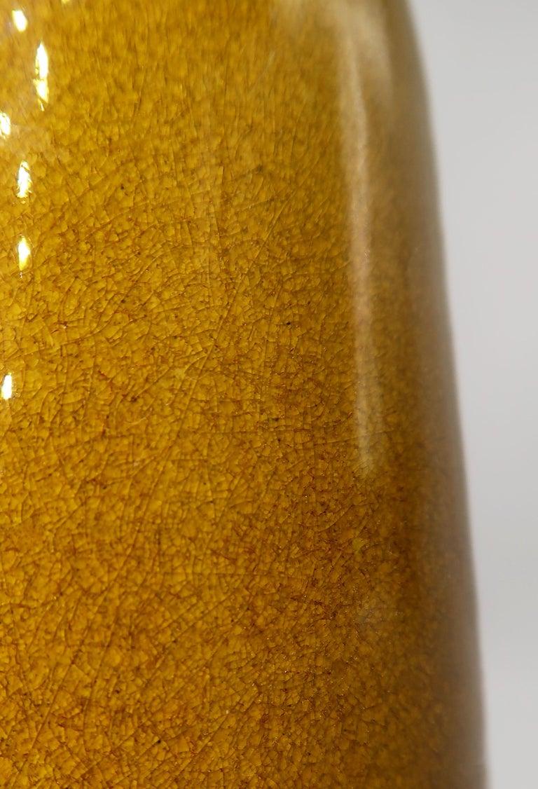 Beautiful Danish Kähler Handmade Ceramic Ochre Glazed Vase, 1950s For Sale 1