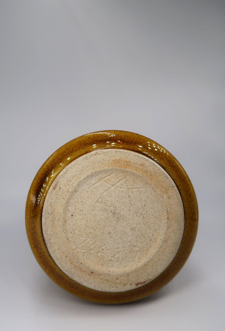 Beautiful Danish Kähler Handmade Ceramic Ochre Glazed Vase, 1950s For Sale 3