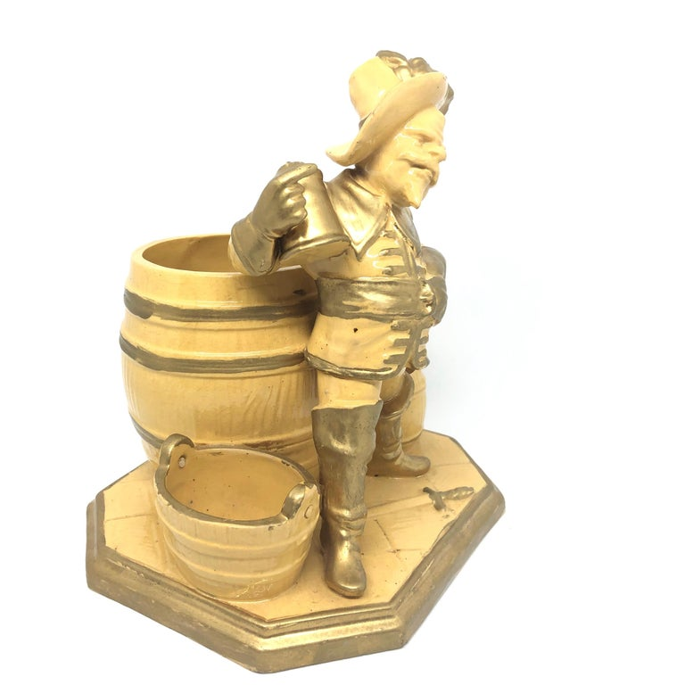 Victorian Beautiful Knight Ceramic Figural Catchall Statue, Antique German, 1890s For Sale