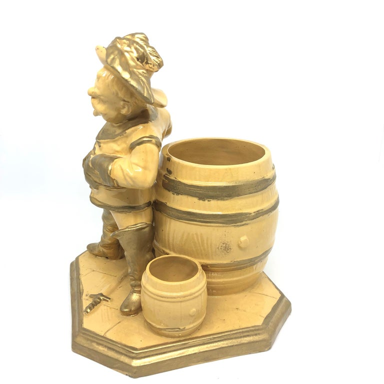Late 19th Century Beautiful Knight Ceramic Figural Catchall Statue, Antique German, 1890s For Sale