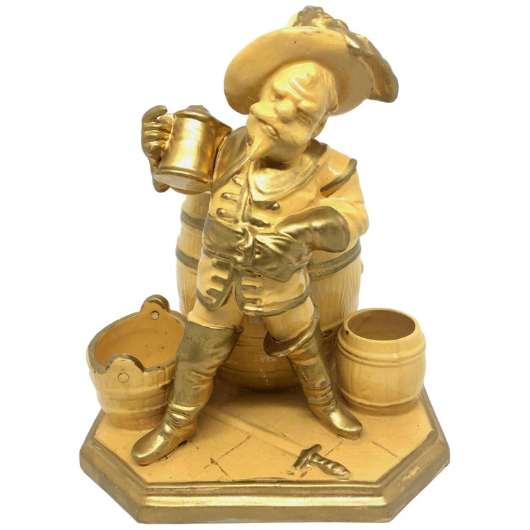 Beautiful Knight Ceramic Figural Catchall Statue, Antique German, 1890s For Sale