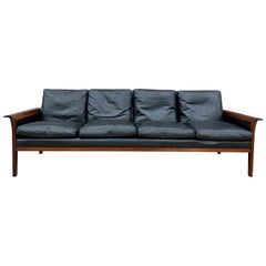 Beautiful Knut Saeter for Vatne Mobler Black Leather and Rosewood Sofa