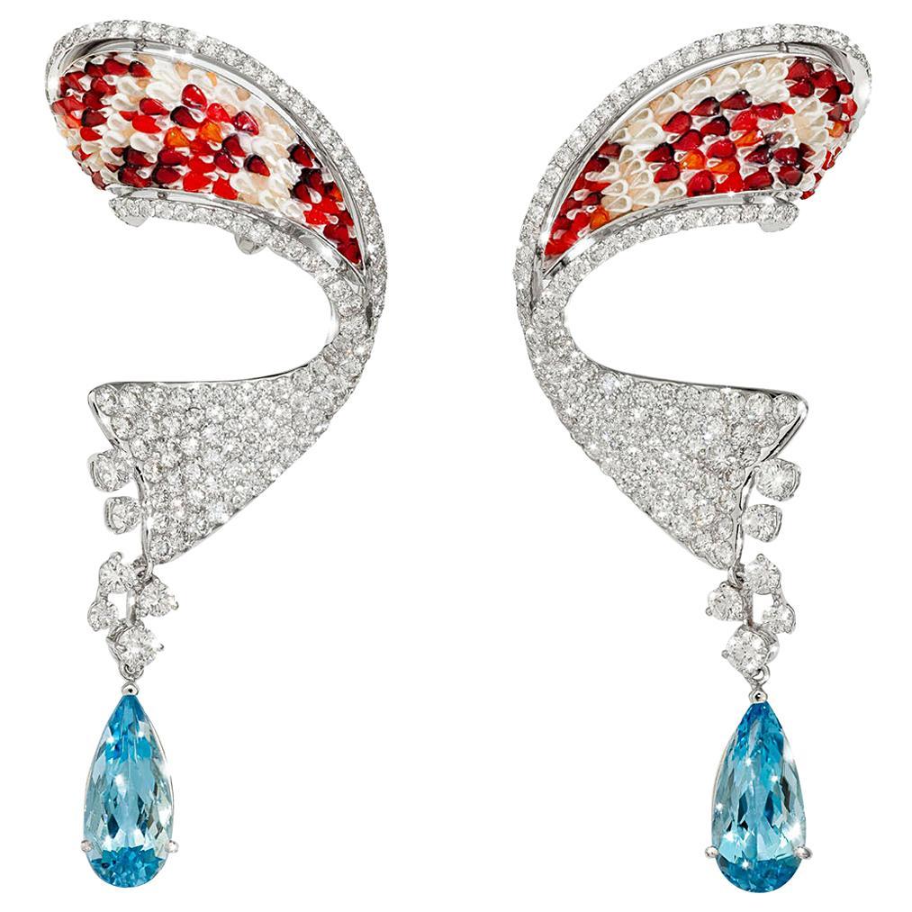 Stylish Earrings White Gold White Diamonds Aquamarine HandDecorated MicroMosaic