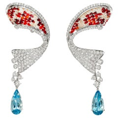 Beautiful Koi Earrings White Diamonds Aquamarine White Gold Micro Mosaic