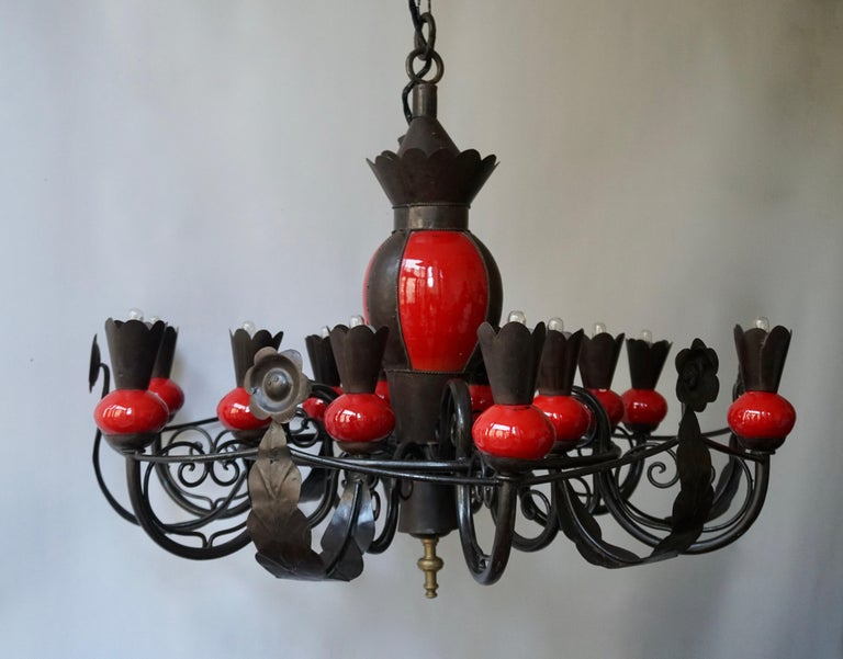 Mid-Century Modern Beautiful Large 1950s Wrought Iron and Red Ceramic Chandelier For Sale