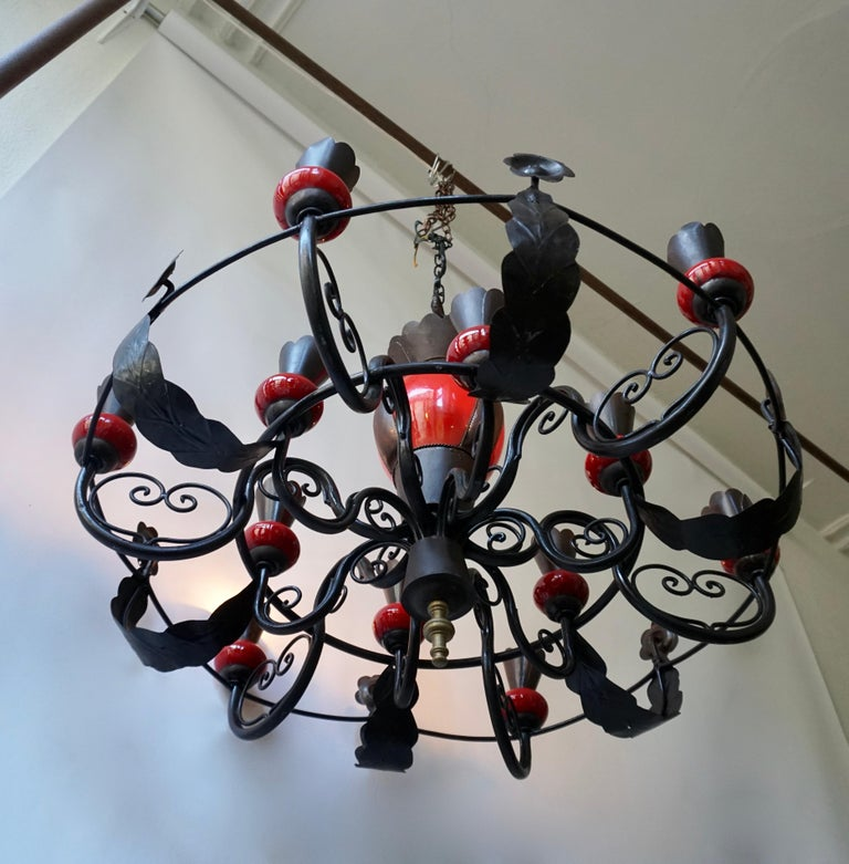 Belgian Beautiful Large 1950s Wrought Iron and Red Ceramic Chandelier For Sale