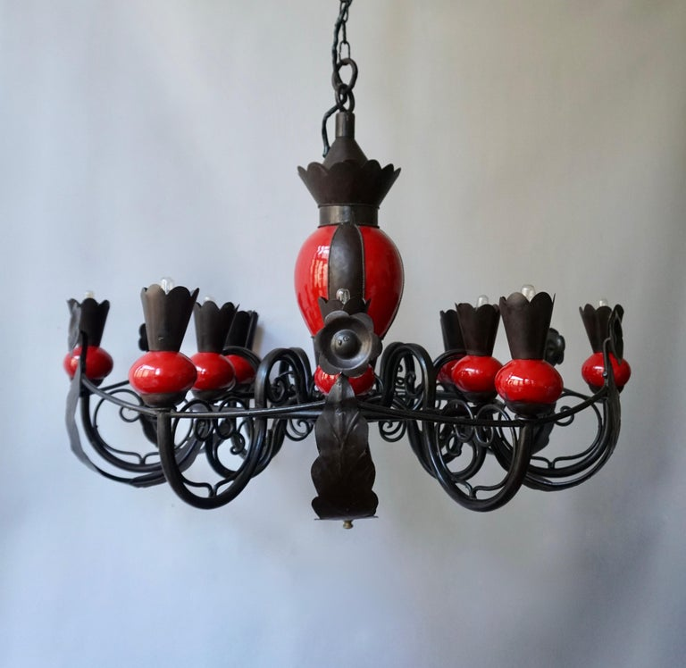 Beautiful Large 1950s Wrought Iron and Red Ceramic Chandelier In Good Condition For Sale In Antwerp, BE