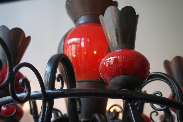 Beautiful Large 1950s Wrought Iron and Red Ceramic Chandelier For Sale 2