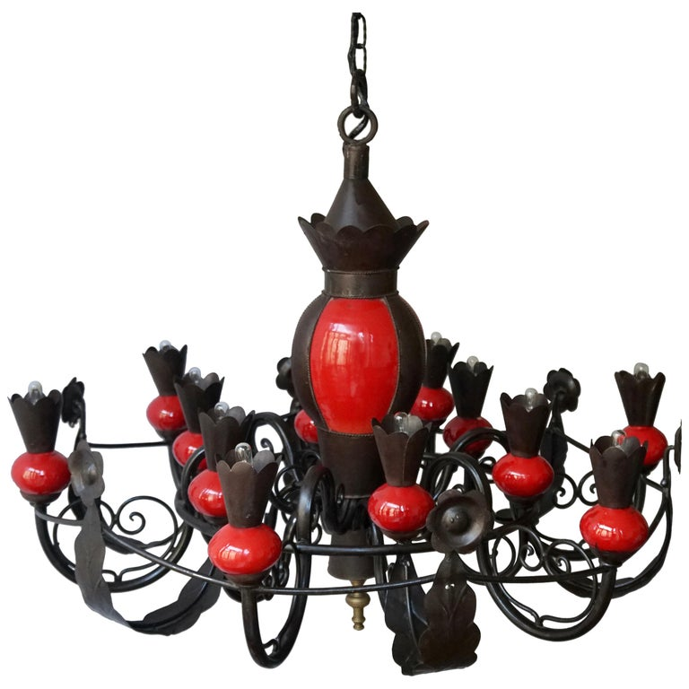 Beautiful Large 1950s Wrought Iron and Red Ceramic Chandelier For Sale