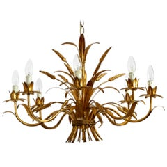Beautiful, Large 1970s Gold-Plated 8-Armed Metal Chandelier by Hans Kögl