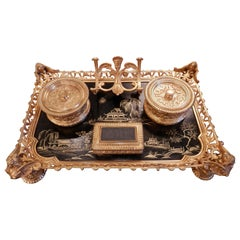 Beautiful Large 19th Century French Chinoiserie and Gilt Bronze Inkwell