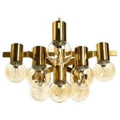 Beautiful Large 60s Brass Ceiling Lamp by Hans Agne Jakobsson with 9 Glass Balls