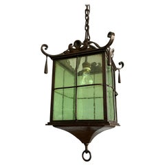 Beautiful Large Arts & Crafts Wrought Iron and Cathedral Glass Lantern / Pendant