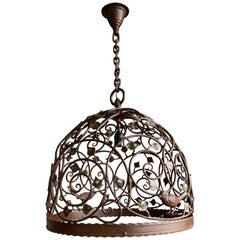 Beautiful Large Arts and Crafts Wrought Iron & Bronze Pendant Light / Chandelier