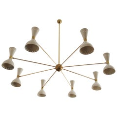 Beautiful Large Brass Chandelier Style of Stilnovo