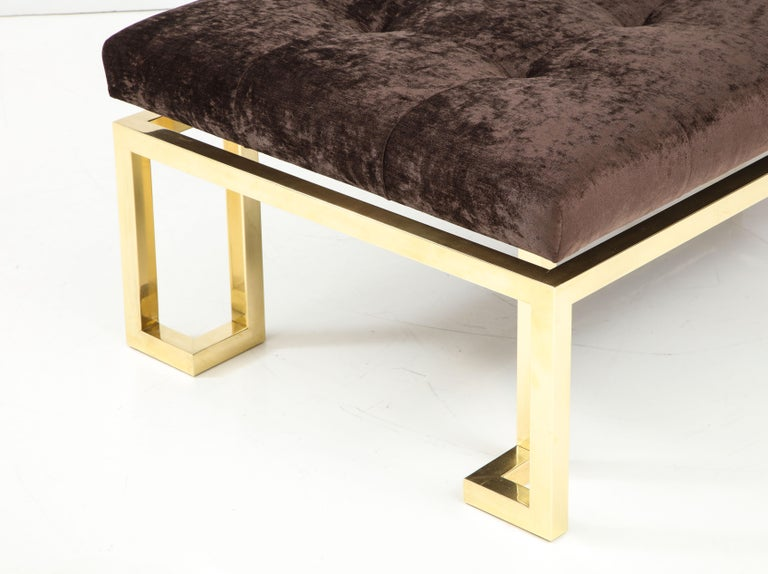 Beautiful Large Brass Greek Key Upholstered Bench In Excellent Condition For Sale In New York, NY