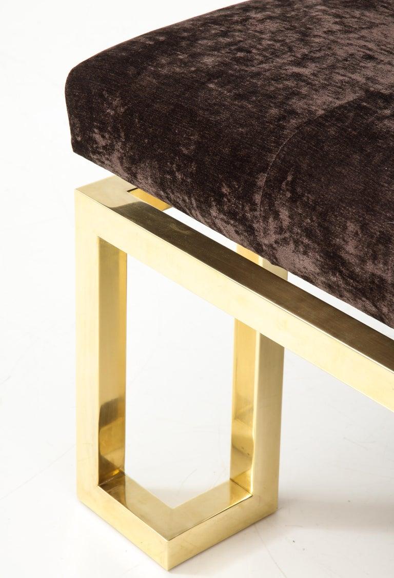 Velvet Beautiful Large Brass Greek Key Upholstered Bench For Sale