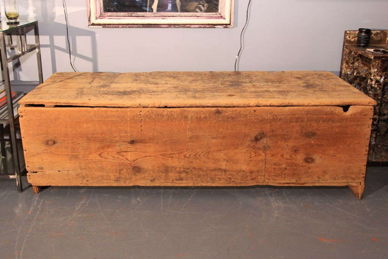 Beautiful mellow wood grain bin. Great patina - would be beautiful at foot of bed or as a sofa table or low console. Perfect in a mud room for ample storage and sturdy seating.