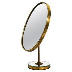 Beautiful Large Italian Mid Century Table Mirror Made of Brass and Velvet
