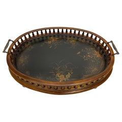 Beautiful Large Mahogany Oval Gallery Tray