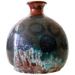 Beautiful & Large Mid-Century Modern Glazed Ceramic Vase, 1960s, Germany, Signed