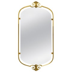Beautiful Large Midcentury Brass Wall Mirror with a Stunning Frame