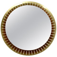 Beautiful Large Midcentury Illuminated Round Wall Mirror by Hillebrand Germany