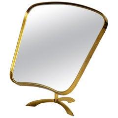 Beautiful Large Movable Midcentury Brass Table Mirror by Vereinigte Werkstätten