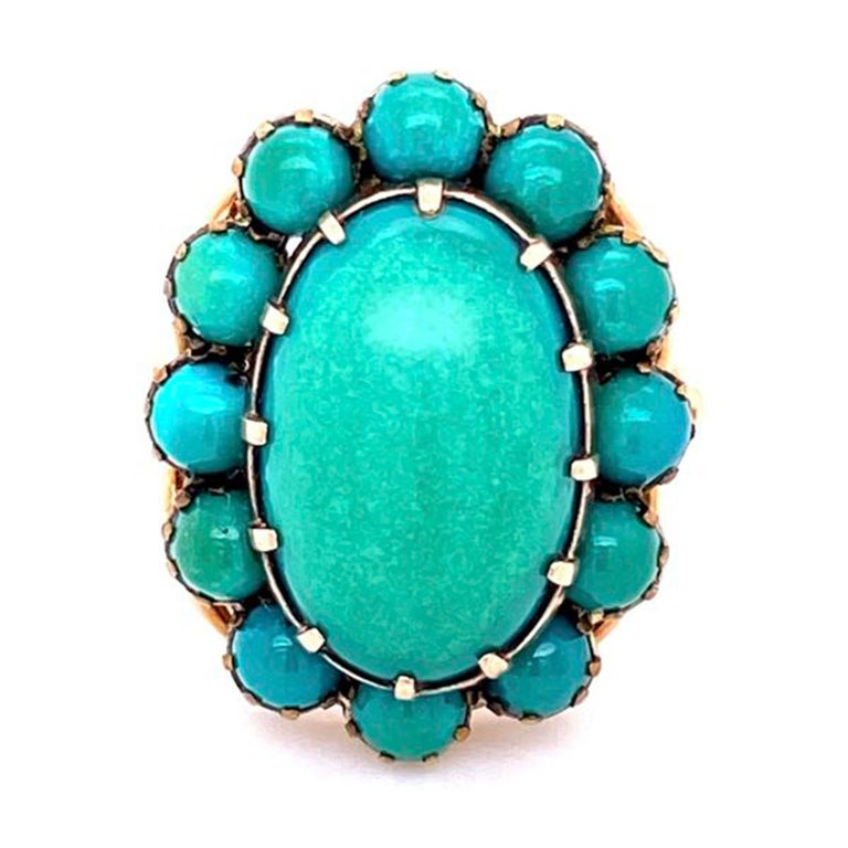 Beautiful Large Turquoise Cluster Gold Statement Ring Fine ...